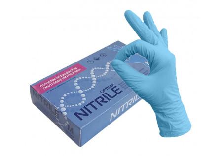 Перчатки нитрил голубые MediOk Top Glove, размер M, пачка 50 пар неопудренные