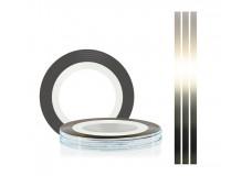 Самоклеющаяся нить для дизайна ногтей TNL серебро, 20м*1мм