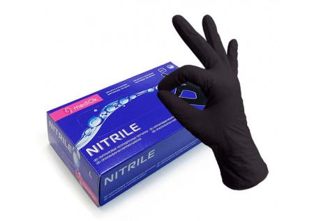 Перчатки нитрил неопудренные MediOk, черные, размер L, пачка 50 пар